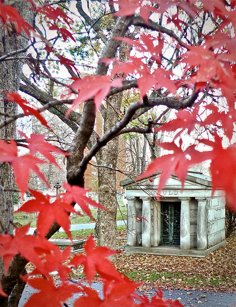 Through red maple, Trinity Church Cemetery & Mausoleum, NYC