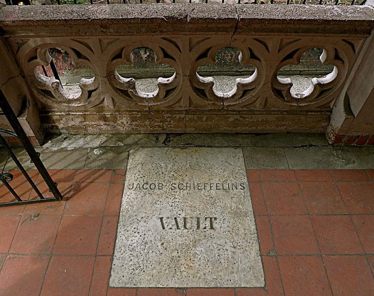 Buried Under the Porch<br /> The family burial vault of Jacob Schieffelin and his wife Hannah Lawrence Schieffelin, who died in the 1830s, is located under the porch of St. Mary's Episcopal Church Manhattanville. The Schieffelins were the most prominent family in Manhattanville, the town they co-founded in 1806, and donated the land on West 126th Street (formerly Lawrence Street) where the church's second structure stands today.
