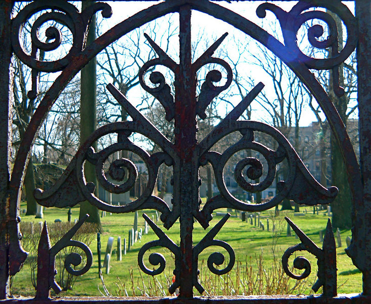 Fence in spring at Trinity Church Cemetery & Mausoleum, NYC.