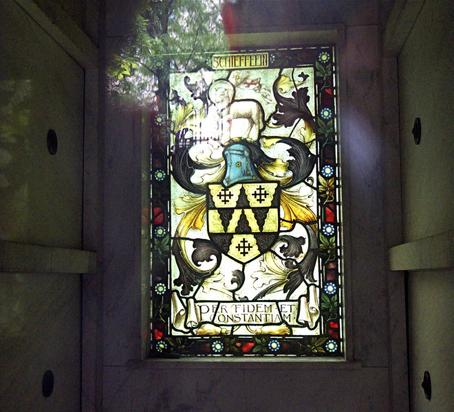 Stained Glass with Schieffelin Coat of Arms.