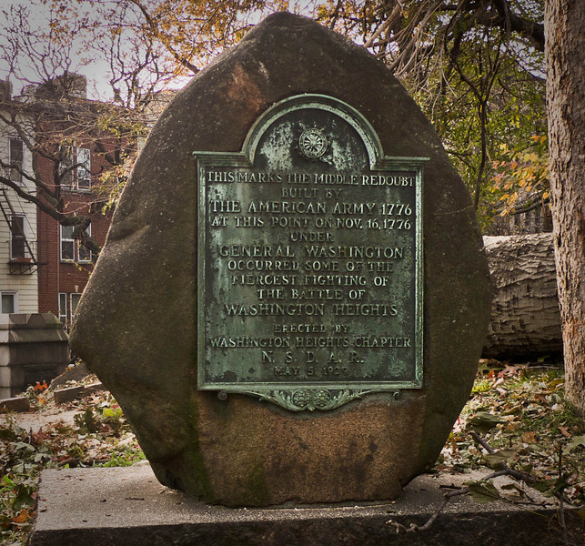 Middle Redoubt marker, Trinity Church Cemetery & Mausoleum, NYC<br /> <br /> <br /> Its bronze tablet reads:<br /> <br /> This marks the Middle Redoubt built by the American Army, 1776; at this point on Nov. 16, 1776 under George Washington occurred some of the fiercest fighting of the Battle of Washington Heights.<br /> Erected by the Washington Heights Chapter, N.S.D.A.R.<br /> May 5, 1929.