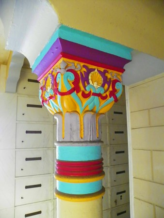 All of the pedestals have been artistically decorated