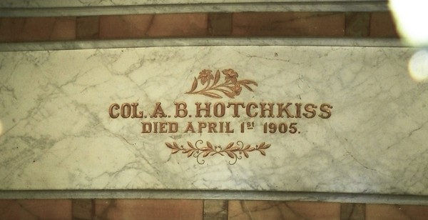 "Colonel A.B. Hotchkiss, lawyer, ""Chief of the Etiwandas"" (I don't know what that means).  He converted to Catholicism 4 years before his death."