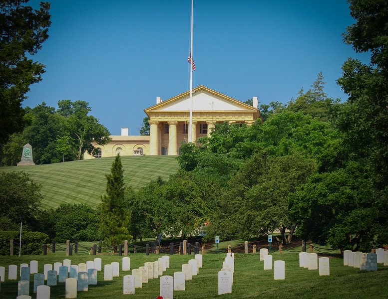 During the Civil War, the Army started burying soldiers along the northern border of the Arlington estate, approximately one half mile from the mansion-headquarters, in May of 1864.Meanwhile, the office of Quartermaster General Montgomery Meigs set about the task of identifying an appropriate place for a new, offical cemetery. Meigs did not have to look very far.  This set the stage for the creation of the Arlington National Cemetery.