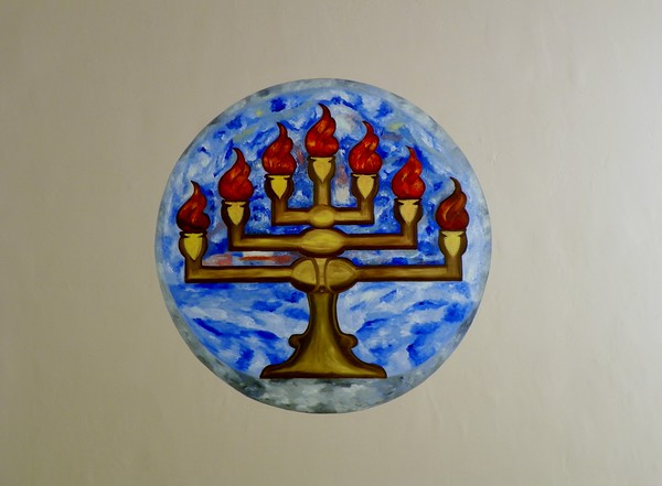 The completed ceiling menorah