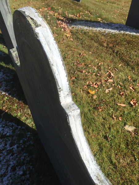 Clear caulking turning white over time. Old Burying Ground.
