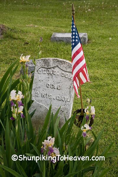 Grave of Civil War Veteran, Jackson Cemetery, Iowa County, Wisconsin