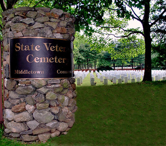 Entrance to the State Veterans' Cemetery in Middletown, CT