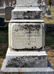 Annie Coleman, wife of William Jennings died December 16th, 1862 aged 33 years.