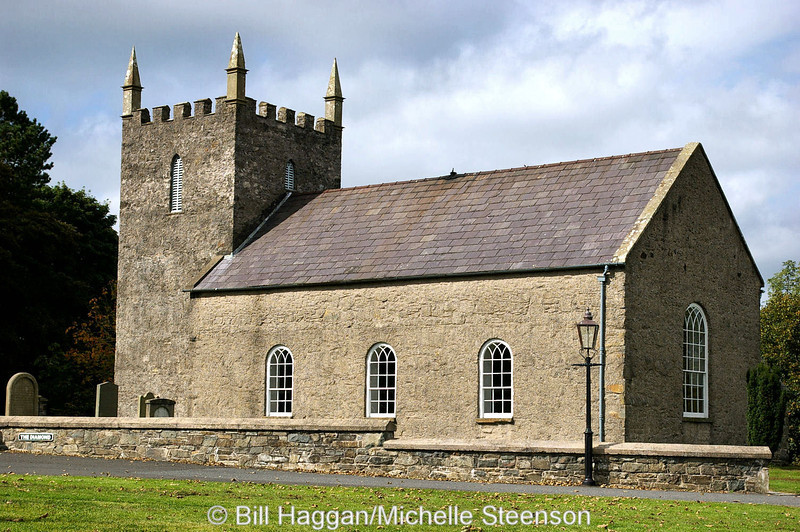 Kilmore Parish Church as seen in its reconstructed state at the Ulster Folk and Transport Museum, Cultra, near Holywood, County Down.