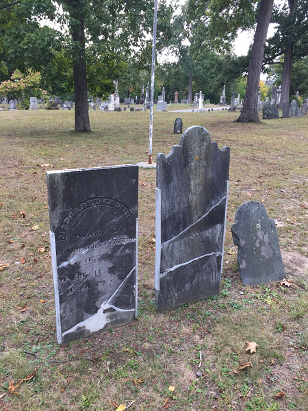 Derry cemetery, stone repair using side channels. September 30, 2016.