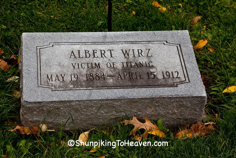 Albert Wirz, Victim of Titanic, Oakwood Cemetery, Beloit, Wisconsin