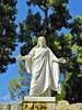 """The Christus at the spring of water which flows into the Mystery of Life statue, thereby resolving the """"Mystery""""."""