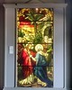 """This 1913 window - """"Jesus and Mary"""" - was once part of Saint Joseph's Catholic Cathedral in Buffalo, New York. It was made by Franz Mayer & Company in Munich, Germany.<br /> Jesus appears to be saying farewell to his mother Mary before going to Jerusalem to enact the Last Supper. Three gospels place him at home in Bethany, two at the home of Simon the Leper and one at the home of Lazarus. In each gospel, Mary and Martha, the sisters of Lazarus were present and can be seen to the right of Mary in the doorway. Two disciples stand to the left, they are Peter and James."""