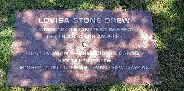 Lovisa Stone Drew; the headstone says it all.  She and her husband opened a store/pharmacy which she ran.  This space was unmarked until 2013 when her great-grandson provided this stone.