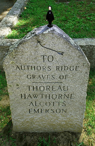 Nate on the Author's Ridge Sign at Sleepy Hollow Cemetery