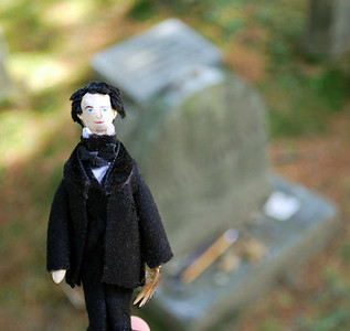 Mini-Nate by his gravesite in Sleepy Hollow Cemetery