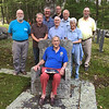 Jaffrey Cemetery Committee at the Phillips-Heil Cemetery. Bill Driscoll in the Ross Chair, L to R: Rob Stephenson, Charlie Turcotte, Jim Weimann, Dick Boutwell, Randy Heglin, Bruce Hill, Emily Preston and Kevin Sterling. September 14, 2017.