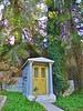 This private mausoleum actually goes through the wall and into the hillside