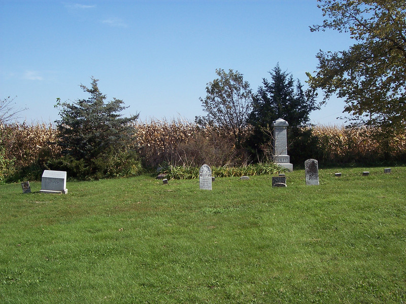 Tyrone Cemetery, Talleyrand, Iowa.  You can see how close the cornfields come to this little cemetery, which is all but engulfed on three sides.