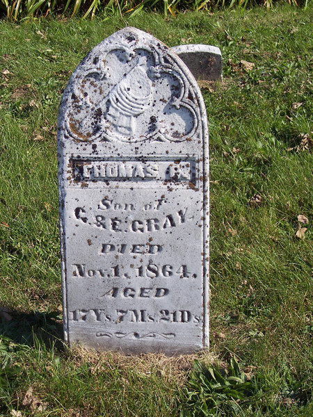 Tyrone Cemetery, Talleyrand, Iowa.  This is the stone of a very young Civil War casualty.