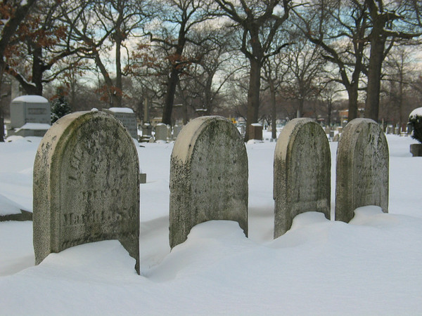 Gravestones in snow