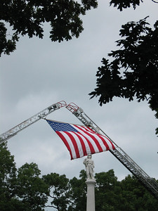 Flag over firefighter's memorial