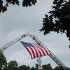 Flag over firefighter's memorial