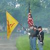 Salute in rain and smoke