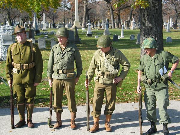 WWI, WWII, Korean and Vietnam War re-enactors