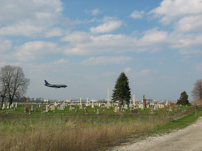 Cemetery with airplane