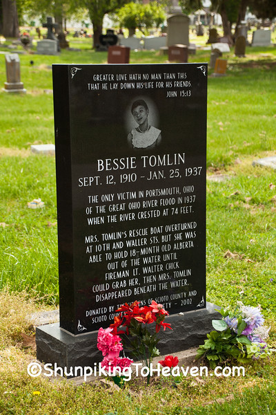 Grave of Bessie Tomlin, 1937 Flood Victim, Portsmouth, Ohio