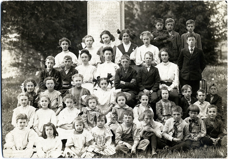 Students at the Civil War Monument, West Genoa Cemetery, King Ferry, NY. Circa 1910. (Photo ID: 29613)