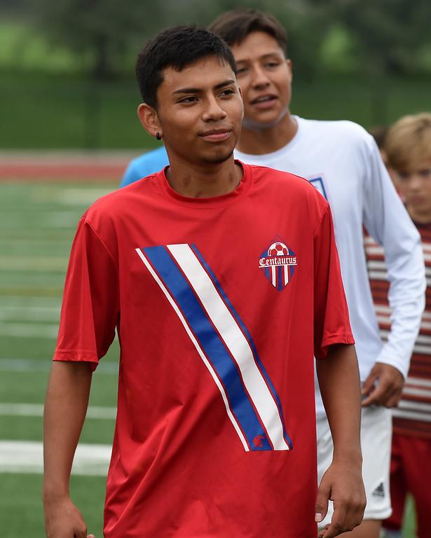 . BOULDER, CO - AUGUST 8: Jesus Garcia at Centaurus High School soccer practice on Aug. 8, 2018. (Photo by Cliff Grassmick/Staff Photographer)