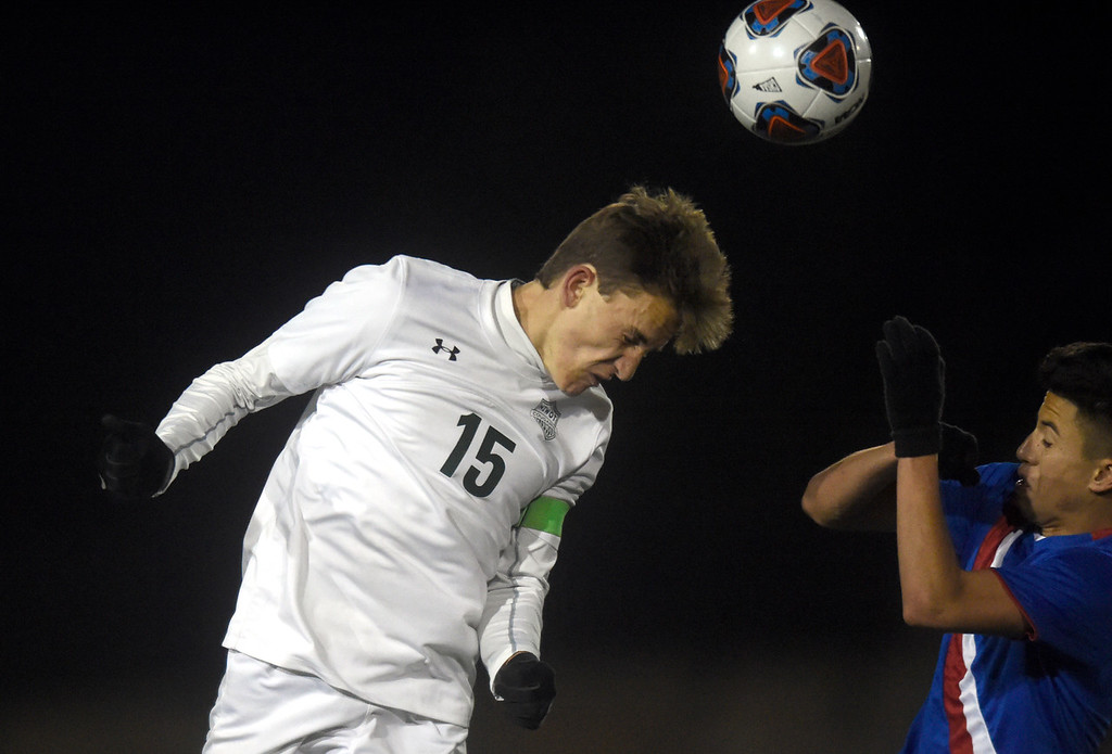 . Niwot High School\'s Nicholas Grant heads the ball during a CHSAA 4A State Semifinal game against Centaurus on Wednesday at Legacy Stadium in Aurora. Centaurus won the game 2-0. For more photos of the game go to BoCoPreps.com Jeremy Papasso/ Staff Photographer/ Nov. 8, 2017