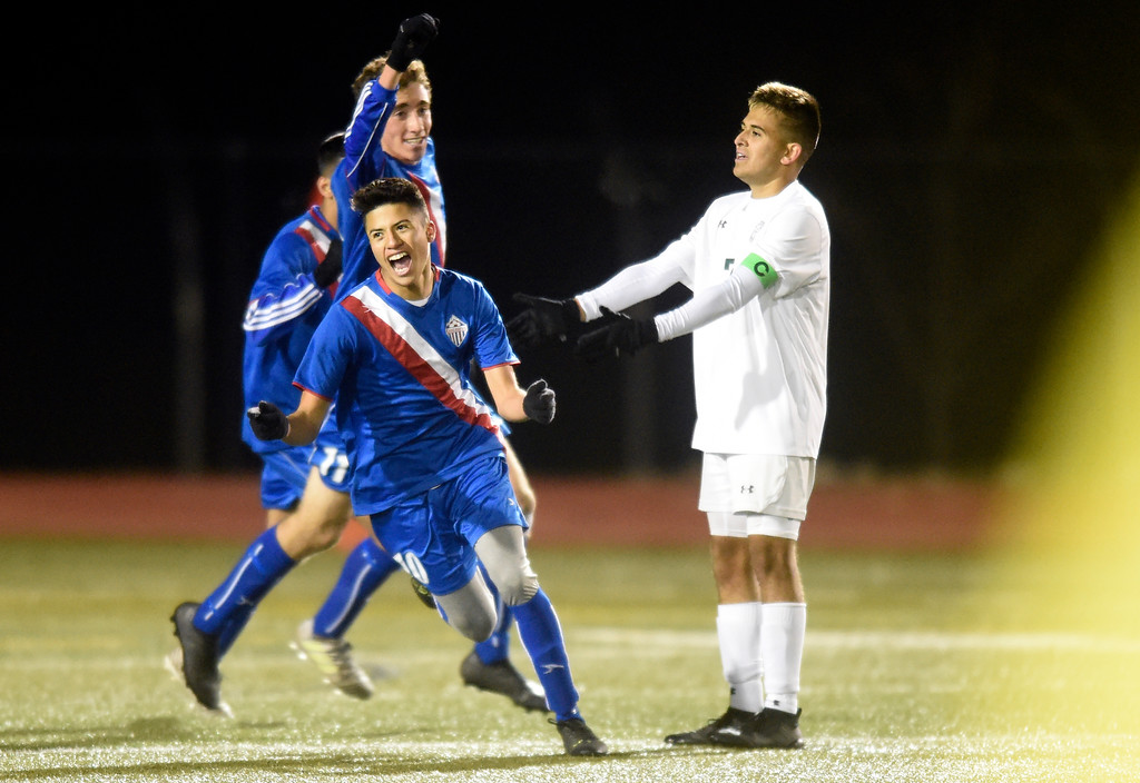 . Centaurus High School\'s Christian Nunez celebrates a goal during a CHSAA 4A State Semifinal game against Niwot on Wednesday at Legacy Stadium in Aurora. Centaurus won the game 2-0.  For more photos of the game go to BoCoPreps.com Jeremy Papasso/ Staff Photographer/ Nov. 8, 2017