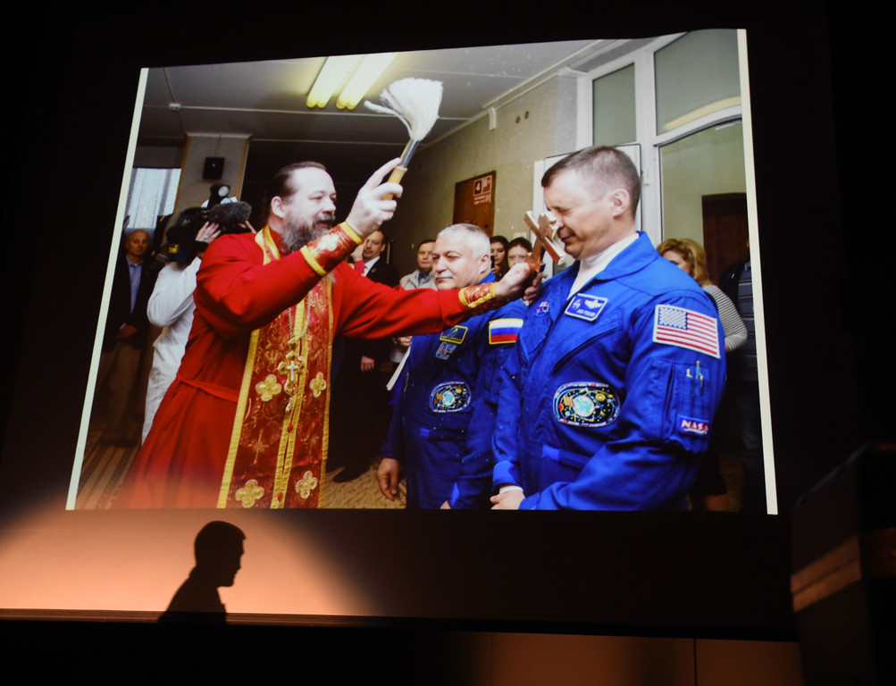 . Astronaut Jack Fischer is shown being blessed by a priest in Russia before leaving on the mission Thursday morning.  1992 Centaurus graduate astronaut, Jack Fischer, was launched to the International Space Station at 1 a.m. our time on Thursday, along with Russian crew member Fyodor Yurchikhin. Centaurus students and Fischer\'s family members were able to watch the live feed of Fischer arriving at the space station from Centaurus High School on Thursday morning. For more photos and a video, go to www.dailycamera.com. Cliff Grassmick  Staff Photographer April 20, 2017