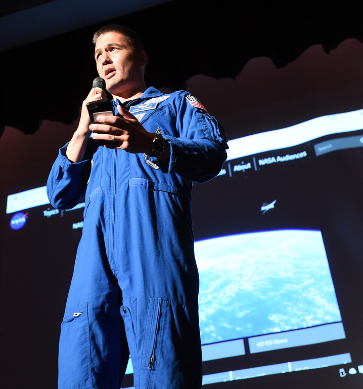 . NASA astronaut, Kjell Lingren, talks about the docking procedure with the crowd at the Centaurus auditorium. 1992 Centaurus graduate astronaut, Jack Fischer, was launched to the International Space Station at 1 a.m. our time on Thursday, along with Russian crew member Fyodor Yurchikhin. Centaurus students and Fischer\'s family members were able to watch the live feed of Fischer arriving at the space station from Centaurus High School on Thursday morning. For more photos and a video, go to www.dailycamera.com. Cliff Grassmick  Staff Photographer April 20, 2017