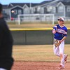 Centaurus second baseman Jack Battistelli throws a runner out at first base during the Warriors' game against Silver Creek on Thursday, March 22, at Silver Creek High School.