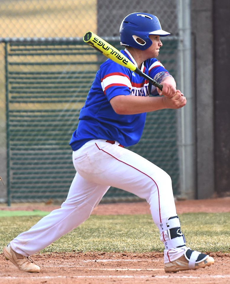 Brayden Rizzi hits a ground ball during the Centaurus baseball team's game against Silver Creek on Thursday, March 22, at Silver Creek High School.