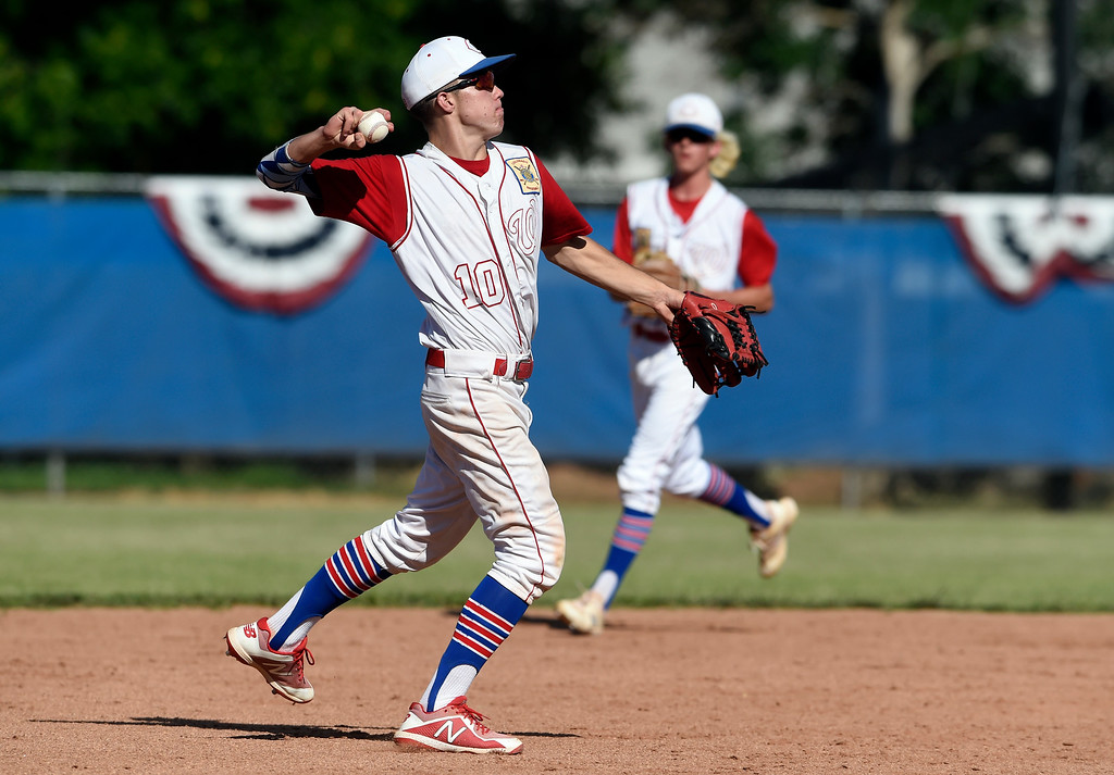 . Centaurus High School\'s Nick VanTassel makes a throw to first base for an out during a NIT tournament game against the Impact on Wednesday at Centaurus High School in Lafayette. More photos: BoCoPreps.com Jeremy Papasso/ Staff Photographer 07/11/2018