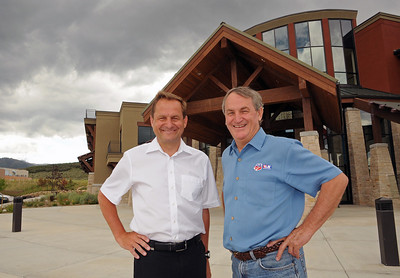 U.S. Ski and Snowboard Association President and CEO Bill Marolt gives a tour of the USSA Center of Excellence in Park City, Utah to Germany Ski Association President Alfons Hoermann. Marolt and Hoermann are members of the International Ski Federation's Council.