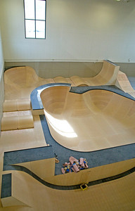 Ramps and tramps under final construction in the USSA Center of Excellence in Park City, Utah