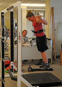 The U.S. Ski Team's Stacey Cook works out during a testing session with USSA Sport Science at the new Center of Excellence in Park City, Utah.