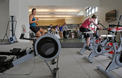 U.S. Ski Team alpine ski racers Resi Stiegler (left) and Stacey Cook workout at the Team's new Center of Excellence in Park City, Utah.