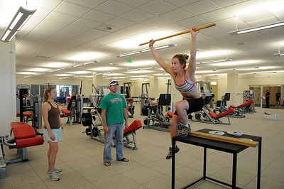 Laurenne Ross works out during testing at the new USSA Center of Excellence.