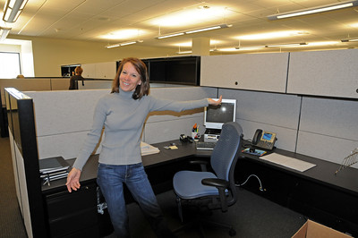 Vicky Gaylord shows off her new office in the USSA Center of Excellence.