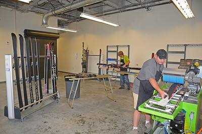 Skis and snowboards are prepped by technicians using the latest equipment from Wintersteiger in the USSA Center of Excellence.