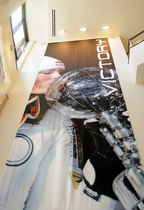 A new Lindsey Vonn VICTORY banner is hung in the lobby of the USSA Center of Excellence in Park City, Utah, the national training center for the U.S. Ski Team and U.S. Snowboarding.