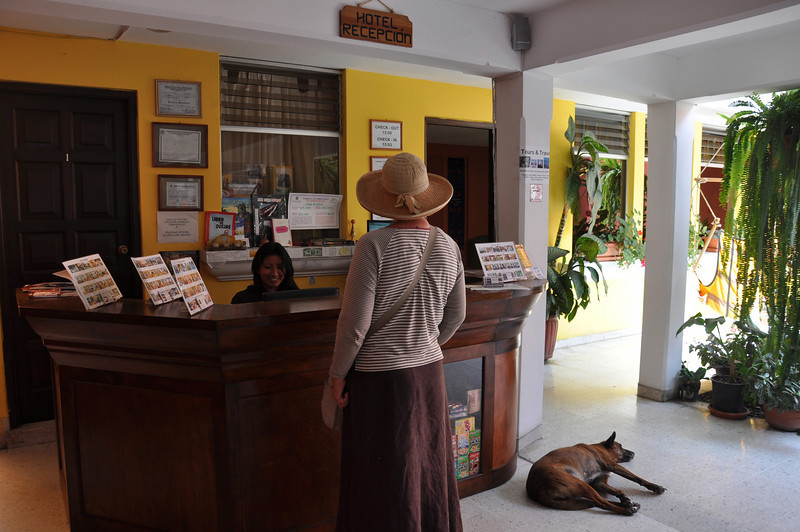 Checking into the Casa Rustica, the Antigua hotel recommended by Tanya of Twisted Tanya's restaurant in Copan